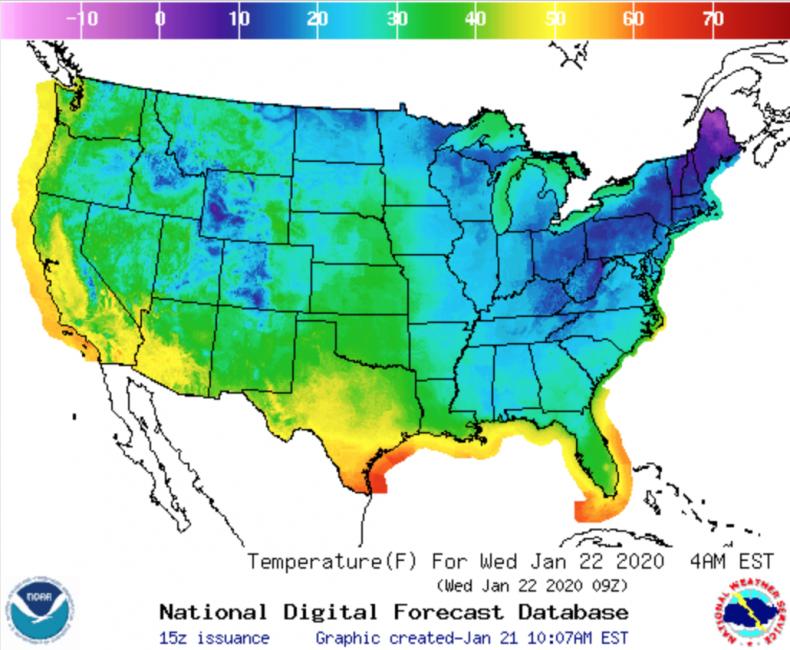Wednesday Temp Forecast