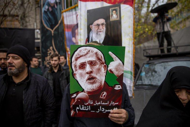 iran, protest, soleimani, esmail, qaani, picture