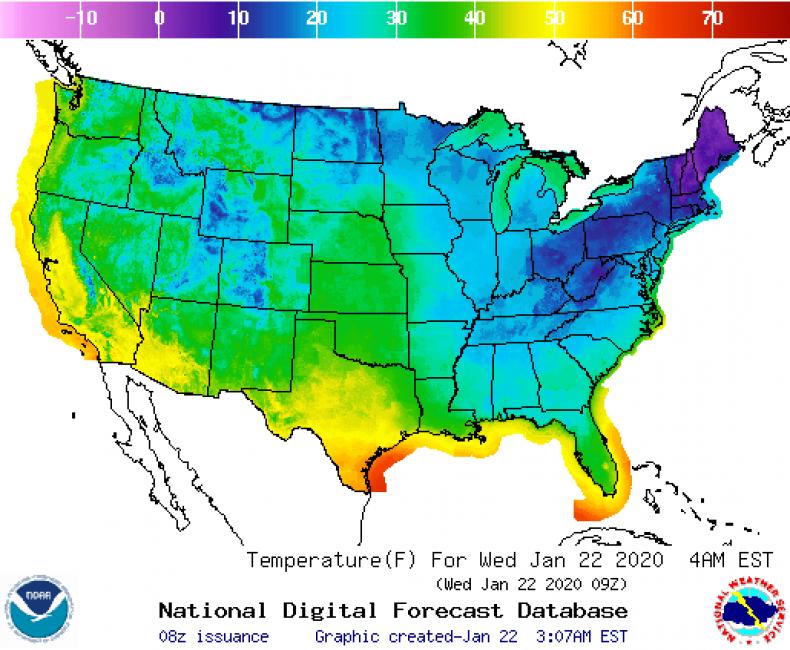 National US Forecast Temp Wednesday Jan 22