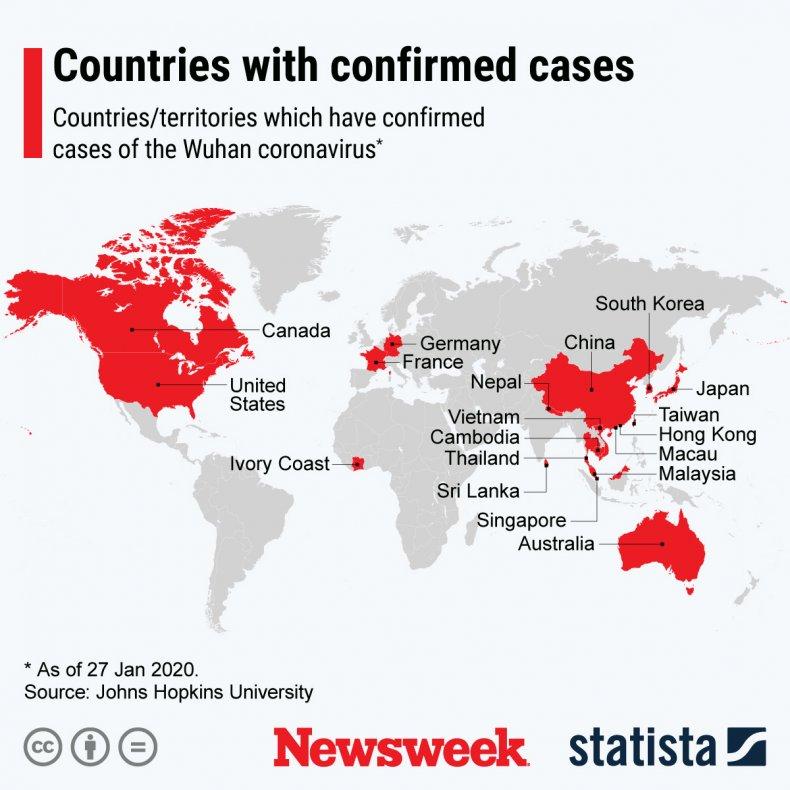 Coronavirus location January 27 Statista
