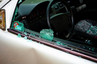 Shattered car driver's side window