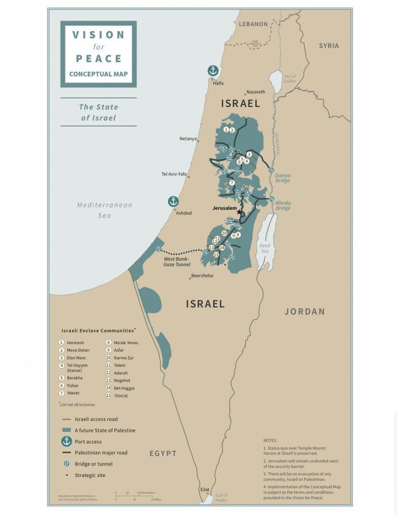 israel, palestine, vision, peace, map, trump, plan
