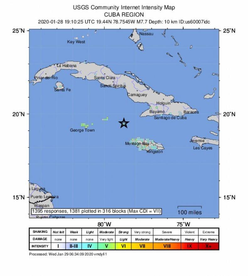 Intensity Map usgs cuba region