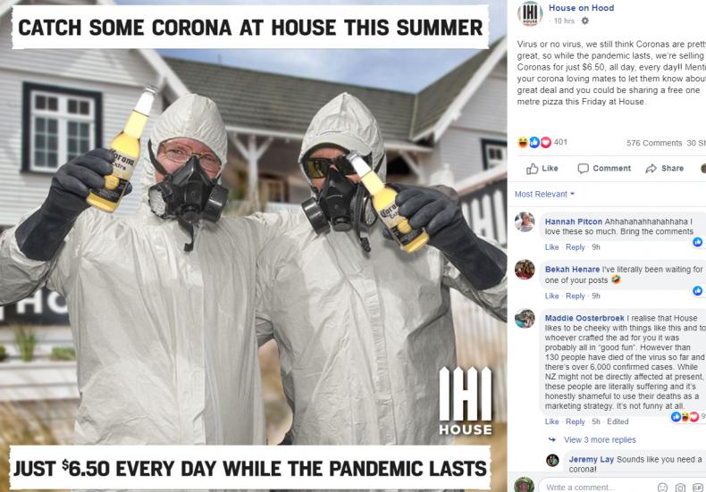 Facebook post of Hamilton bar