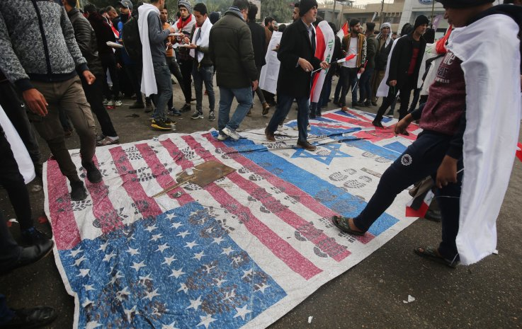 iraque, protesto, nós, israelense, bandeira, militar, presença