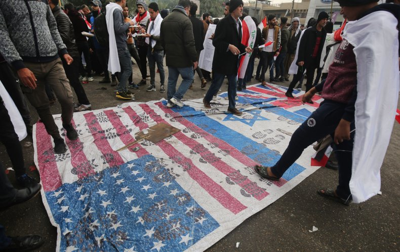 iraq, protest, us, israeli, flag, military, presence