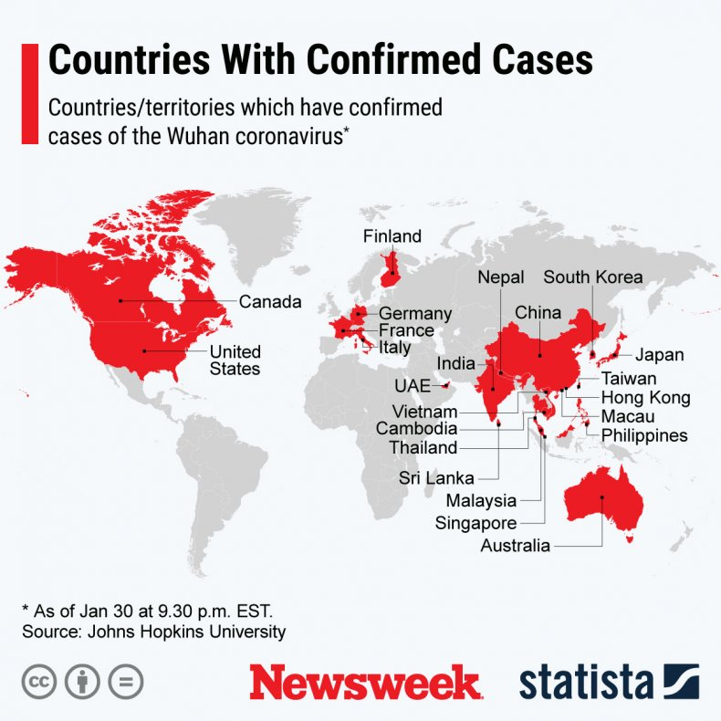 coronavirus, spread, countries, china, map