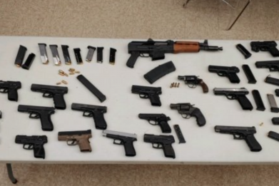 Seized guns from rap video shoot -Chicago Police