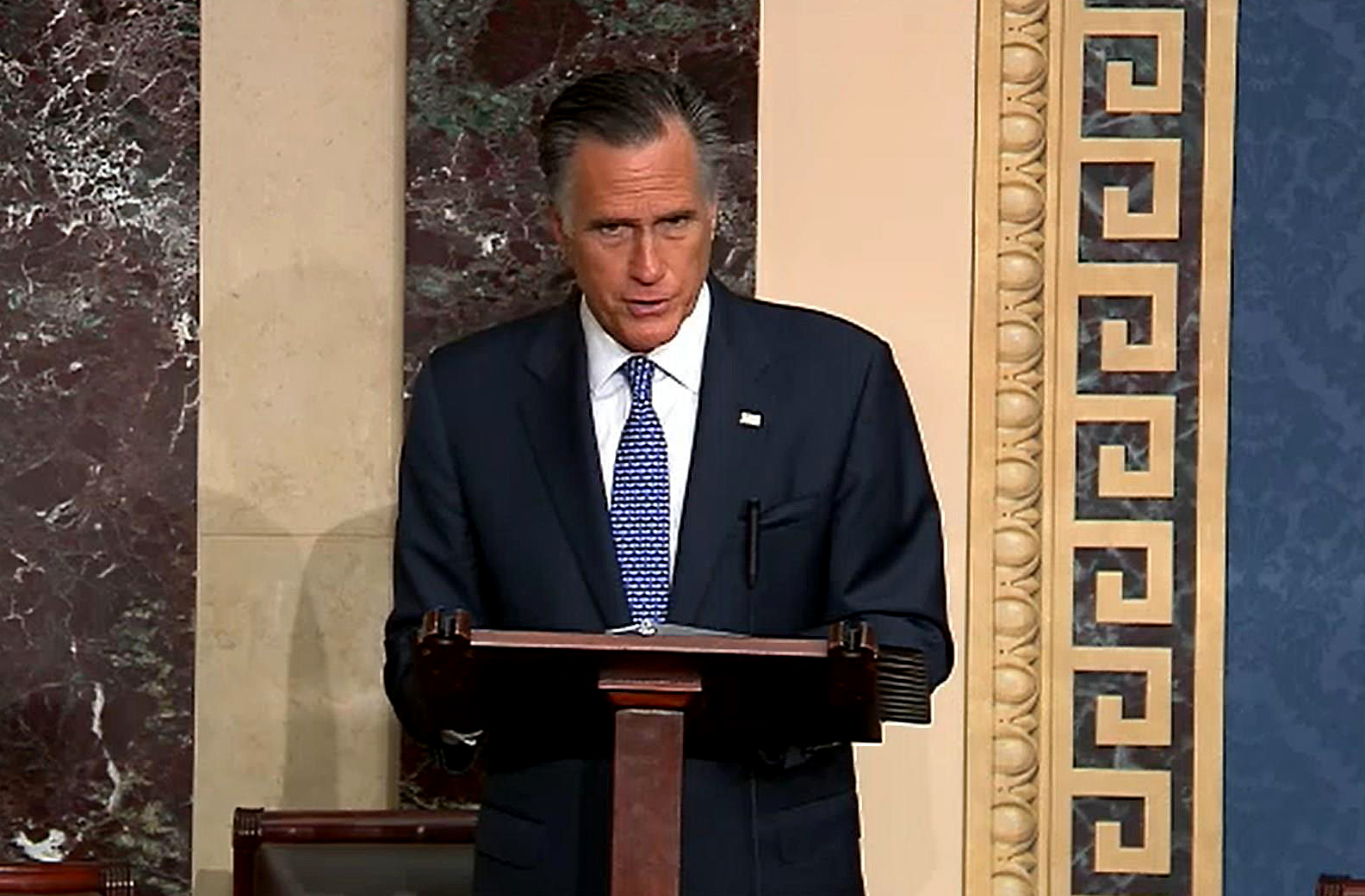 Mitt Romney is the first U.S. senator in history to vote to remove a president from his own party