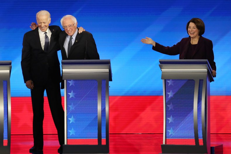 Joe Biden Hugs Bernie Sanders