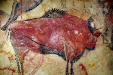 Altamira, cave painting, bison, Spain