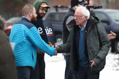Bernie Sanders Visits Polling Station On NH Primary Day