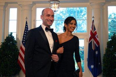 White House Senior Advisor Stephen Miller (L) and Katie Waldma