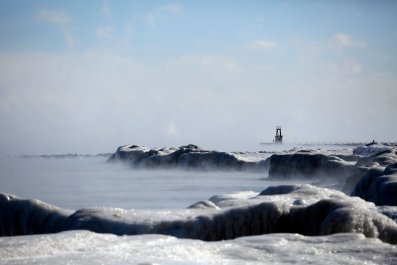 Ice covers Lake Michigan's shoreline