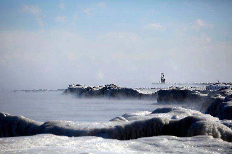 Ice covers Lake Michigan's shoreline