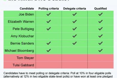 Ninth DNC debate canidates Statista