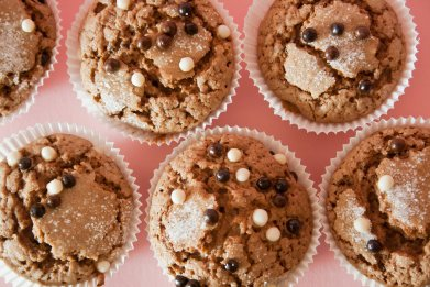 homemade muffins batch chocolate toppings