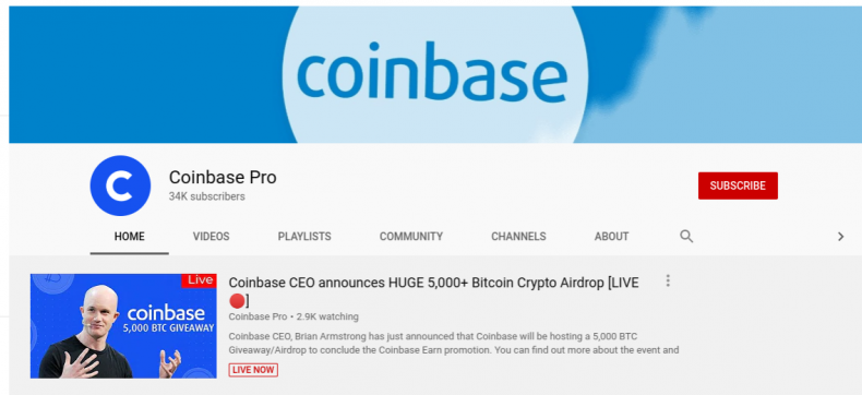 youtube bitcoin cryptocurrency scam channel
