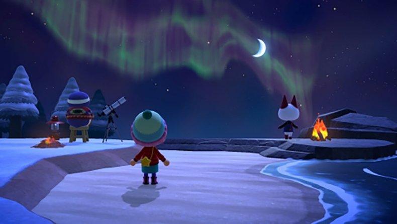animal crossing new horizons winter night