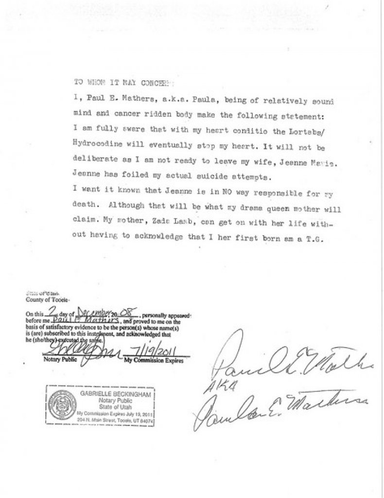 Paul Mathers letter