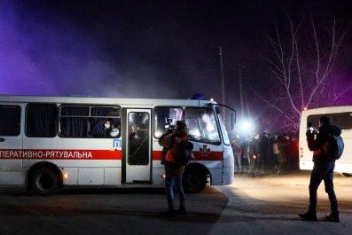 Buses in Novi Sanzhary, Ukraine