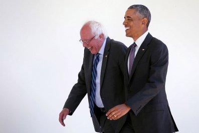 Bernie Sanders with Barack Obama at WH