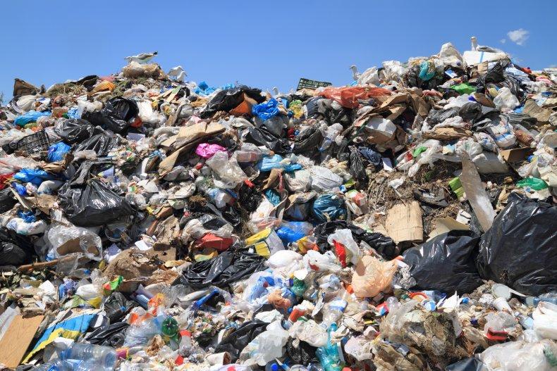 pile of trash in landfill