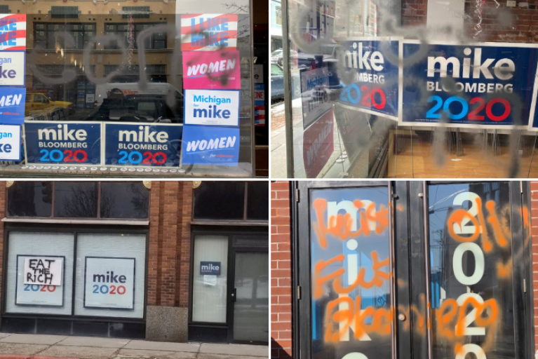 Bloomberg campaign accuses Sanders supporters vandalizing offices