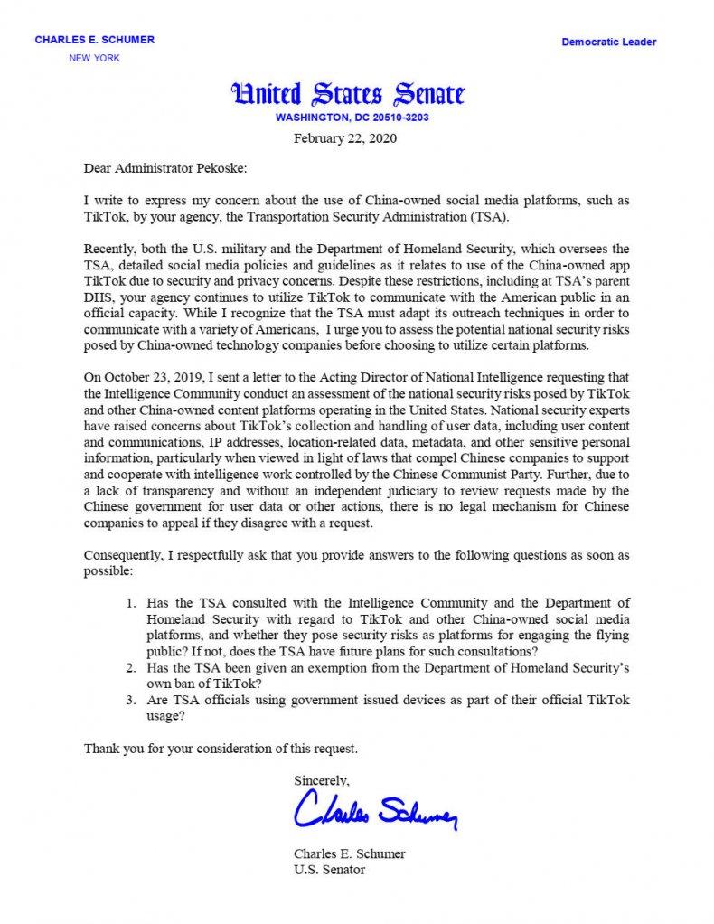 Schumer letter TSA