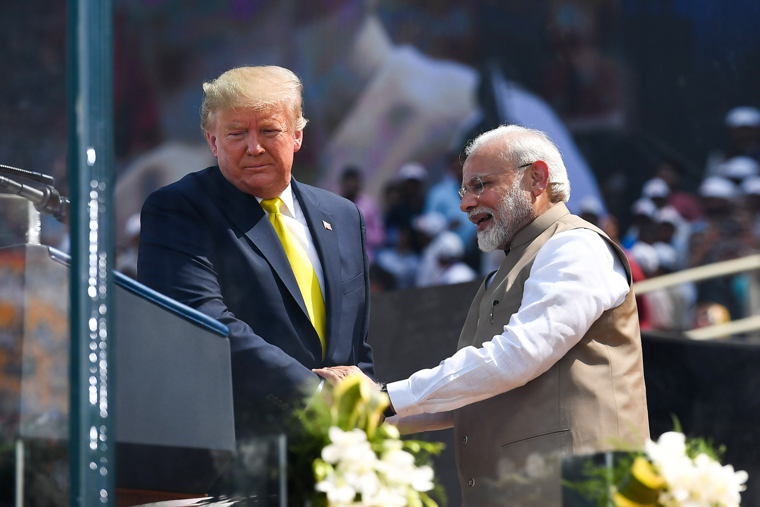 """Trump praises """"very tough"""" Modi during India rally, says they'll deepen military ties amid fight against """"radical Islamic terrorism"""""""