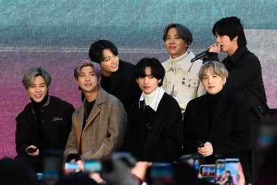 BTS seen at Rockefeller Plaza on February 21, 2020 in New York City