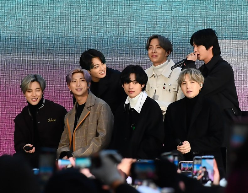 BTS seen at Rockefeller Plaza on February 21, 2020 in New York City