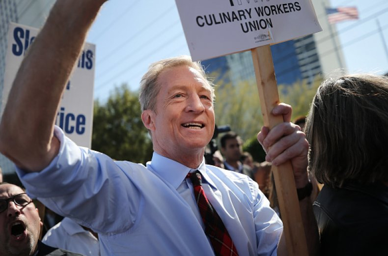 tom steyer culinary workers union picket nevada