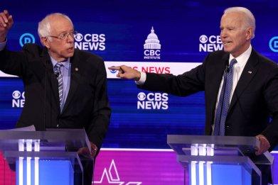 Bernie Sanders and Joe Biden at Debate