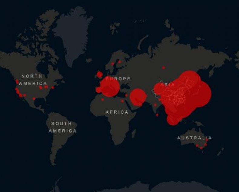coronavirus update map cases world