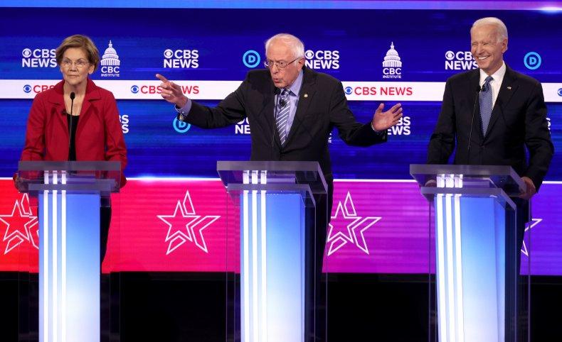 Elizabeth Warren Bernie Sanders and Joe Biden