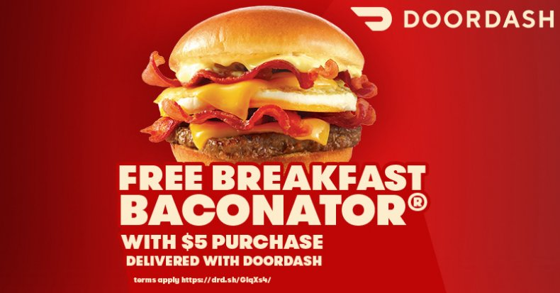 DoorDash Wendy's Freebie Breakfast