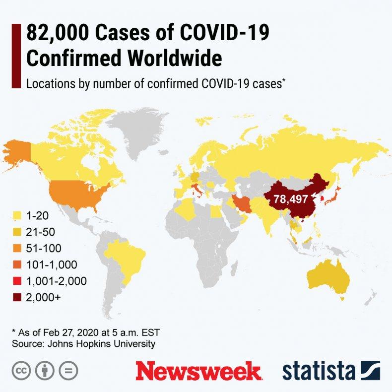 Statista, coronavirus, cases, map, worldwide, Warren, Trump