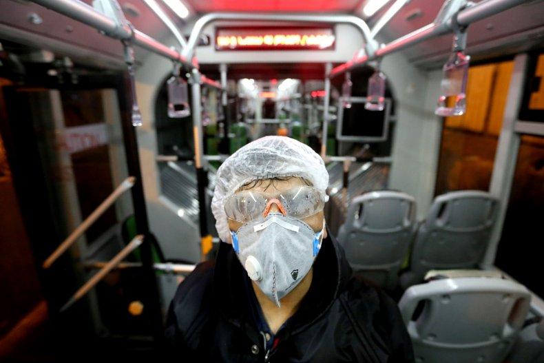 Tehran, Iran, bus worker, coronavirus, Feb 2020