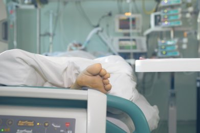 Foot in hospital bed