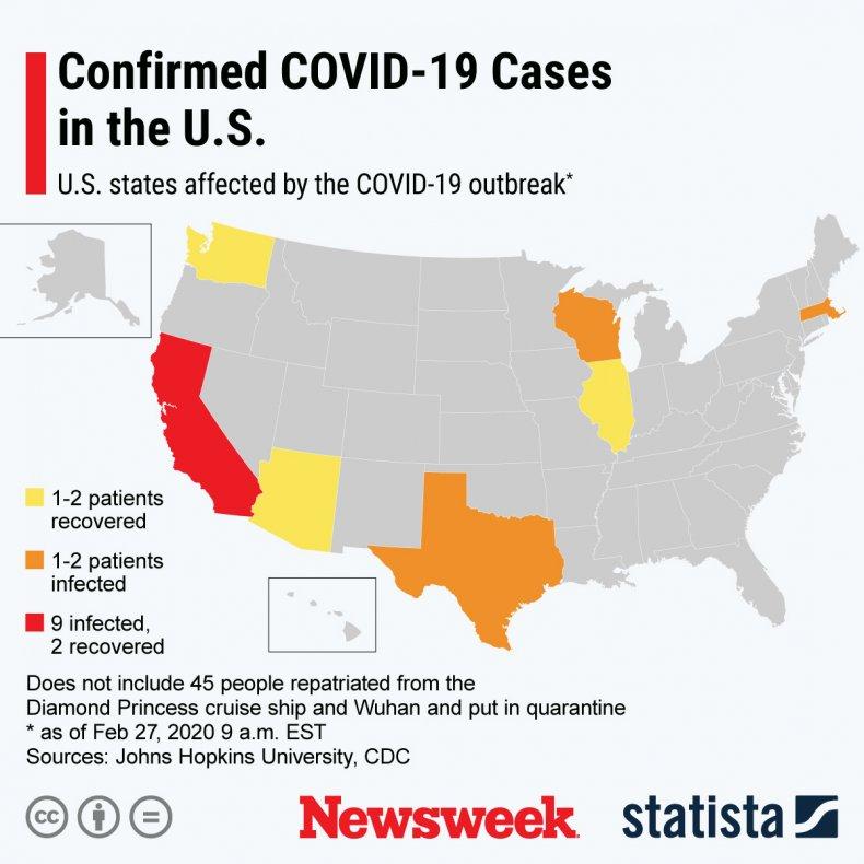 Statista coronavirus, states, US, infections, map