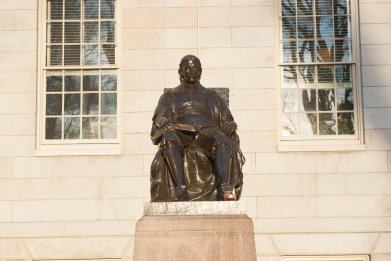 statue of John Harvard  harvard university yard
