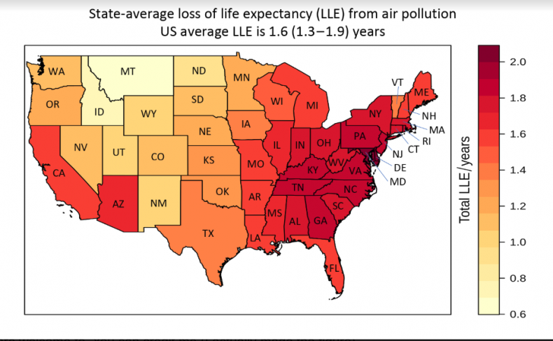 US states air pollution