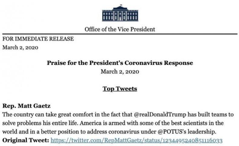 white house coronavirus praise list