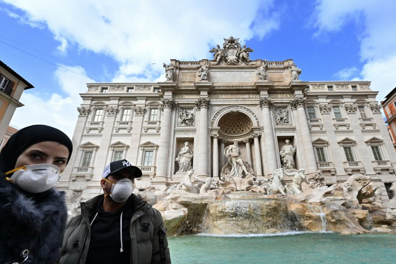 Rome Trevi fountain coronavirus March 2020