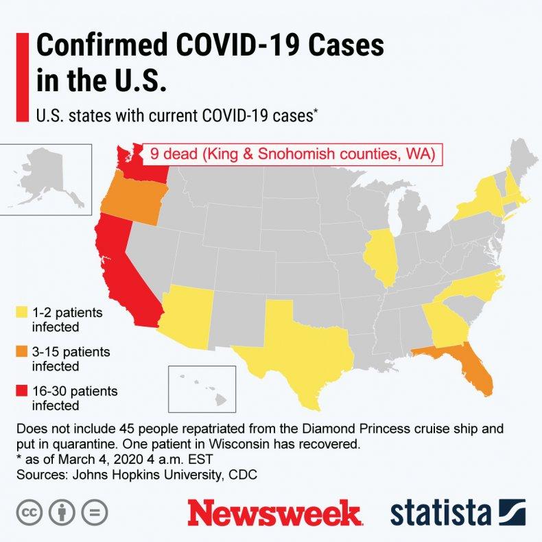 Statista Map U.S. Coronavirus March 4, 2020