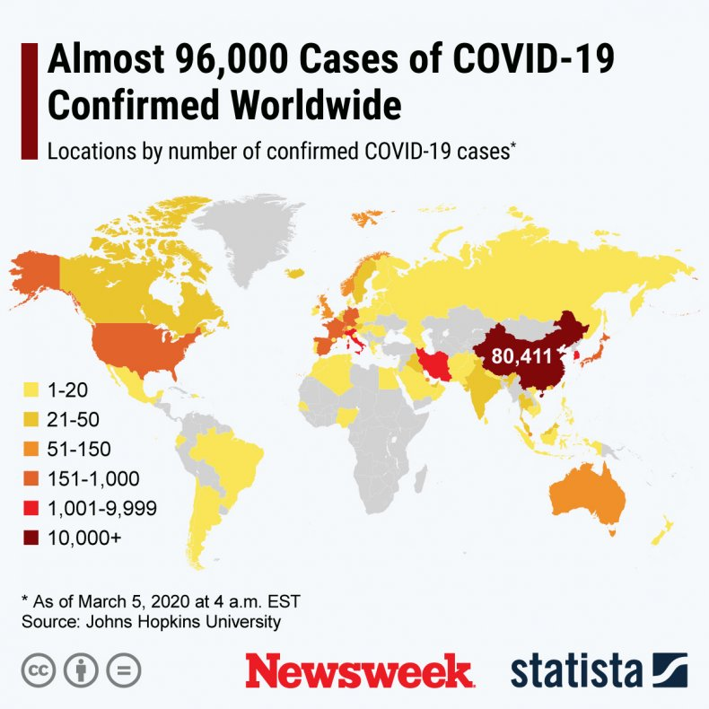 Statista World Map Coronavirus March 5, 2020