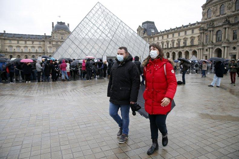 Paris France coronavirus masks tourists March 2020