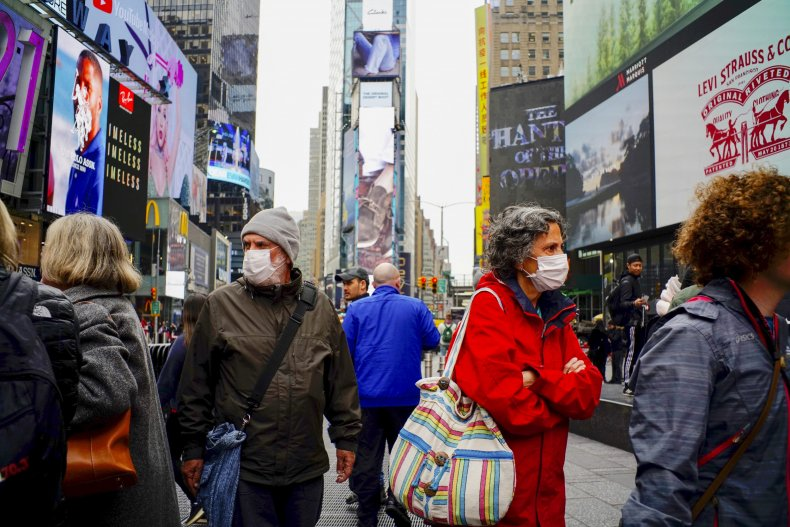 Times Square March 2020 coronavirus masks