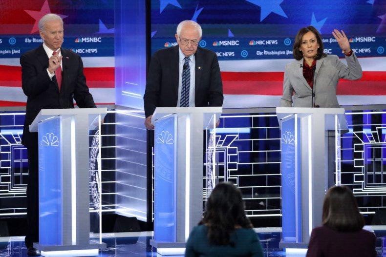 Kamala Harris, Bernie Sanders and Joe Biden